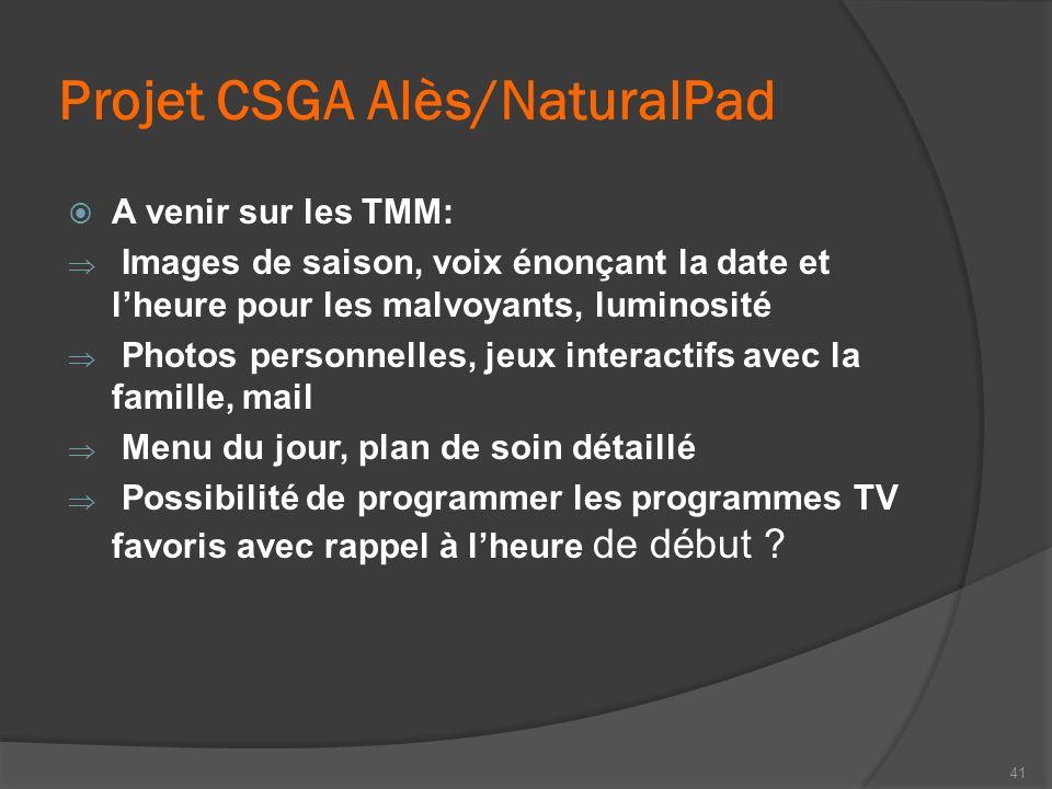 Projet CSGA Alès/NaturalPad A venir sur les TMM: Images de saison, voix énonçant la date et lheure pour les malvoyants, luminosité Photos personnelles