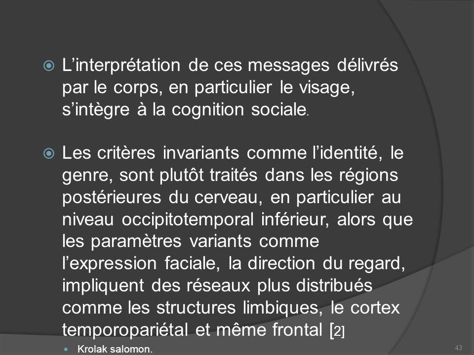 Linterprétation de ces messages délivrés par le corps, en particulier le visage, sintègre à la cognition sociale. Les critères invariants comme lident