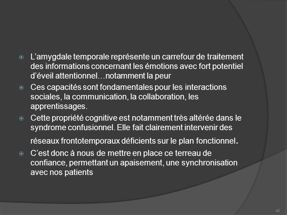 Lamygdale temporale représente un carrefour de traitement des informations concernant les émotions avec fort potentiel déveil attentionnel…notamment l
