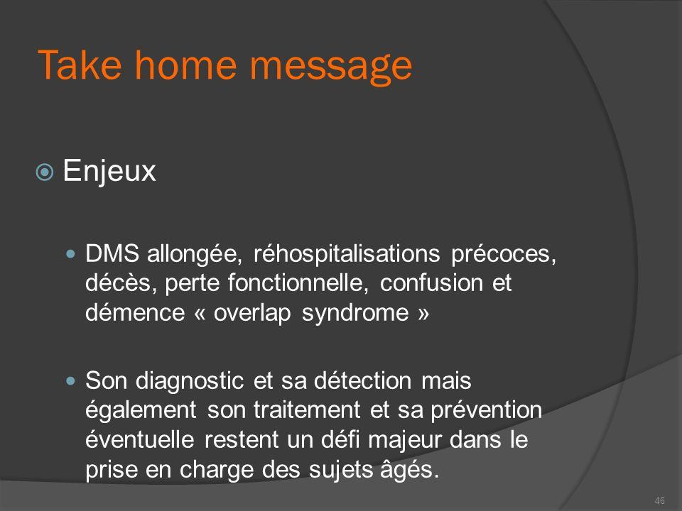 Take home message Enjeux DMS allongée, réhospitalisations précoces, décès, perte fonctionnelle, confusion et démence « overlap syndrome » Son diagnost