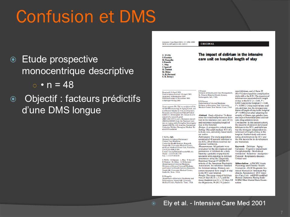Confusion et DMS Etude prospective monocentrique descriptive n = 48 Objectif : facteurs prédictifs dune DMS longue 7 Ely et al. - Intensive Care Med 2