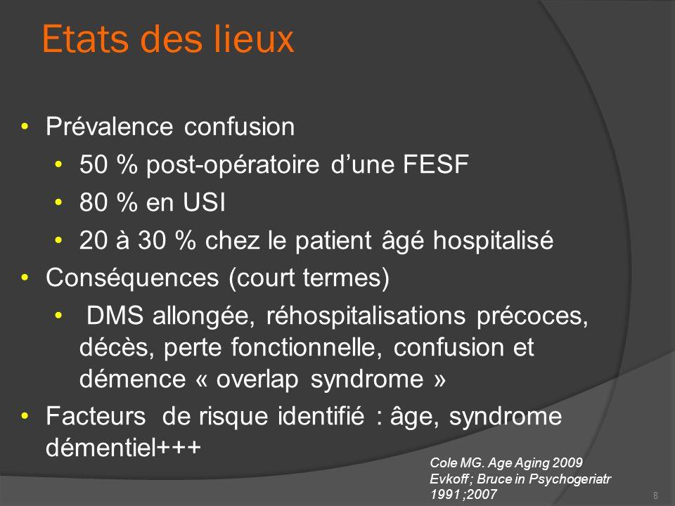 8 Etats des lieux Prévalence confusion 50 % post-opératoire dune FESF 80 % en USI 20 à 30 % chez le patient âgé hospitalisé Conséquences (court termes