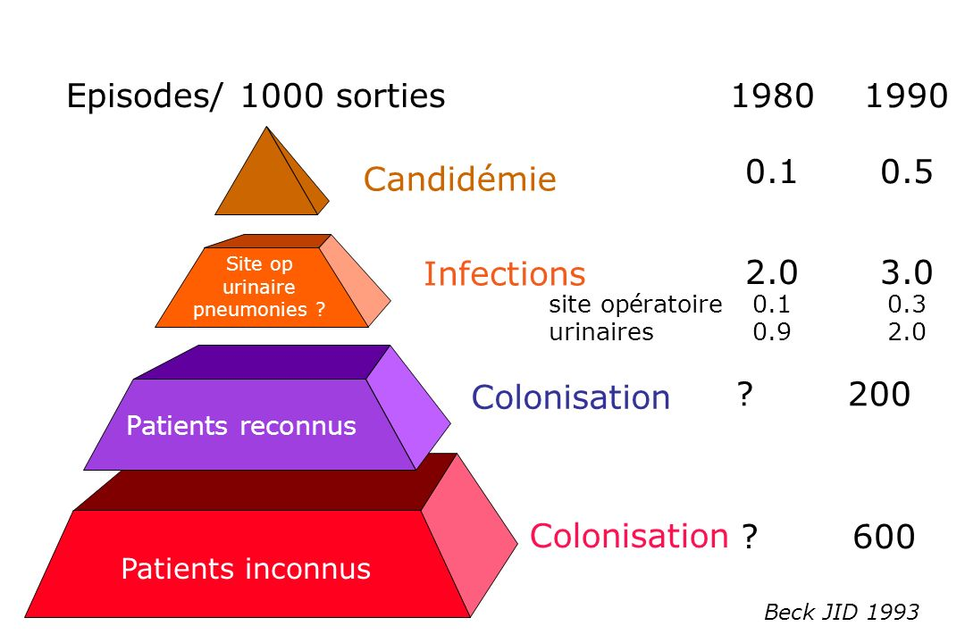 ?600 Colonisation Patients inconnus Beck JID 1993 Colonisation Patients reconnus ?200 Infections Site op urinaire pneumonies ? 2.03.0 site opératoire0