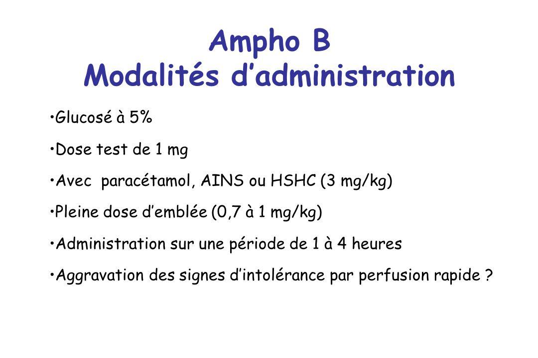 Ampho B Modalités dadministration Glucosé à 5% Dose test de 1 mg Avec paracétamol, AINS ou HSHC (3 mg/kg) Pleine dose demblée (0,7 à 1 mg/kg) Administ