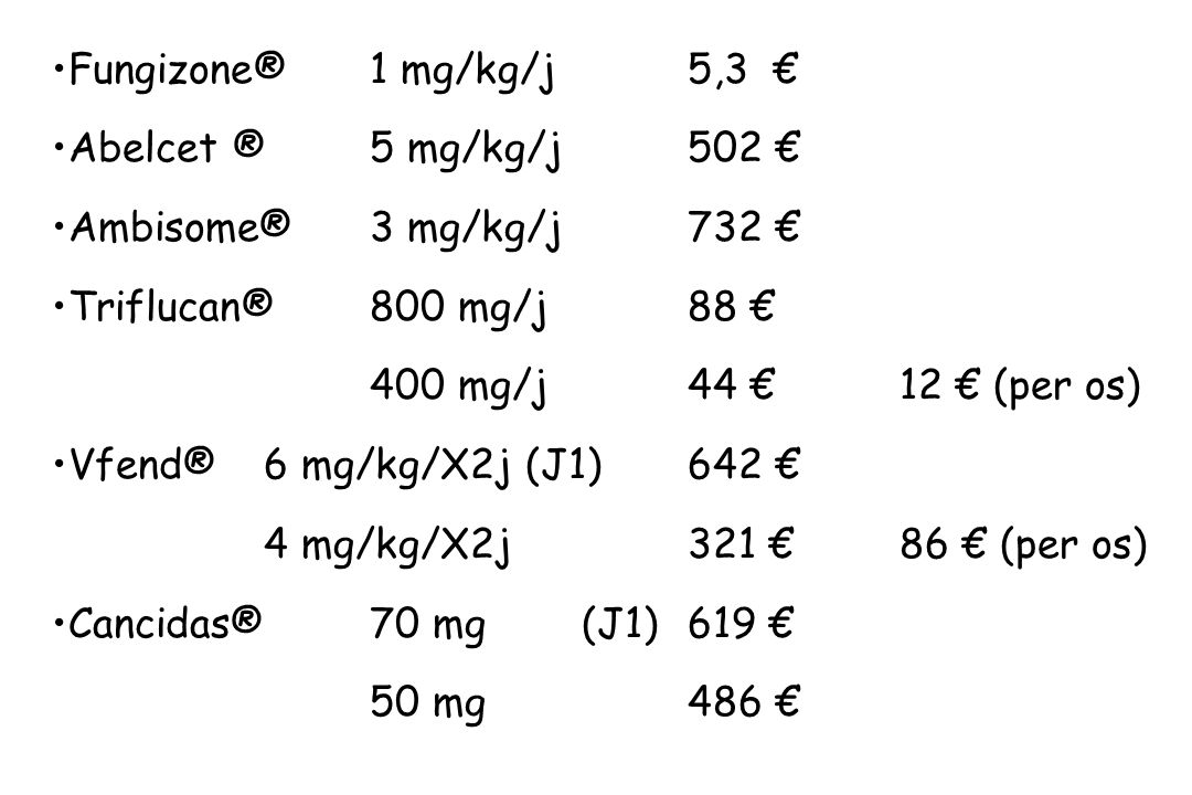 Fungizone® 1 mg/kg/j5,3 Abelcet ®5 mg/kg/j 502 Ambisome®3 mg/kg/j732 Triflucan®800 mg/j88 400 mg/j44 12 (per os) Vfend®6 mg/kg/X2j (J1)642 4 mg/kg/X2j