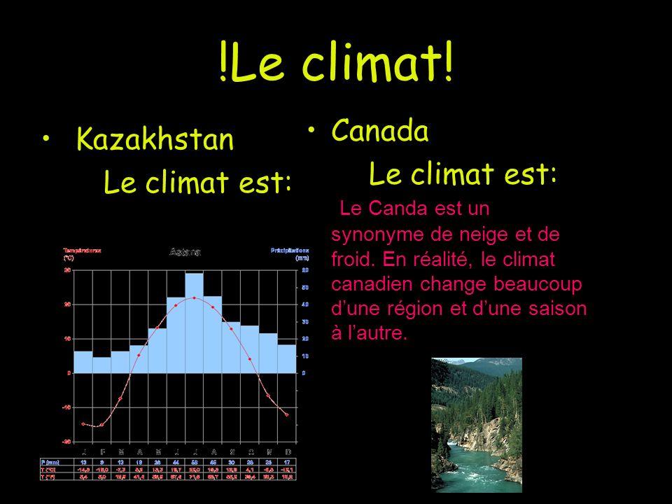 !Le climat! Kazakhstan Le climat est: Canada Le climat est: Le Canda est un synonyme de neige et de froid. En réalité, le climat canadien change beauc