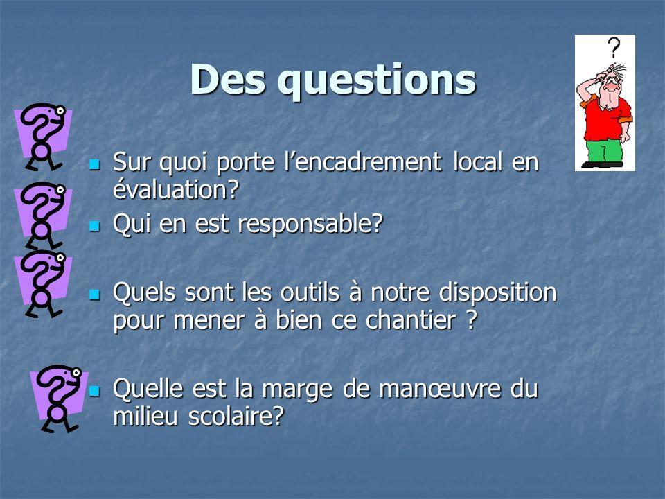 Des questions Sur quoi porte lencadrement local en évaluation.