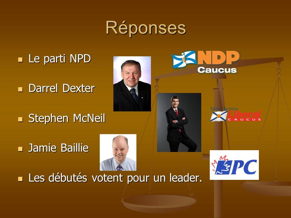Réponses Le parti NPD Le parti NPD Darrel Dexter Darrel Dexter Stephen McNeil Stephen McNeil Jamie Baillie Jamie Baillie Les débutés votent pour un leader.