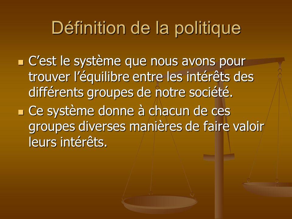 Définition de la politique Cest le système que nous avons pour trouver léquilibre entre les intérêts des différents groupes de notre société.