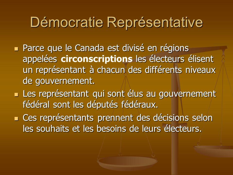 Démocratie Représentative Parce que le Canada est divisé en régions appelées les électeurs élisent un représentant à chacun des différents niveaux de gouvernement.