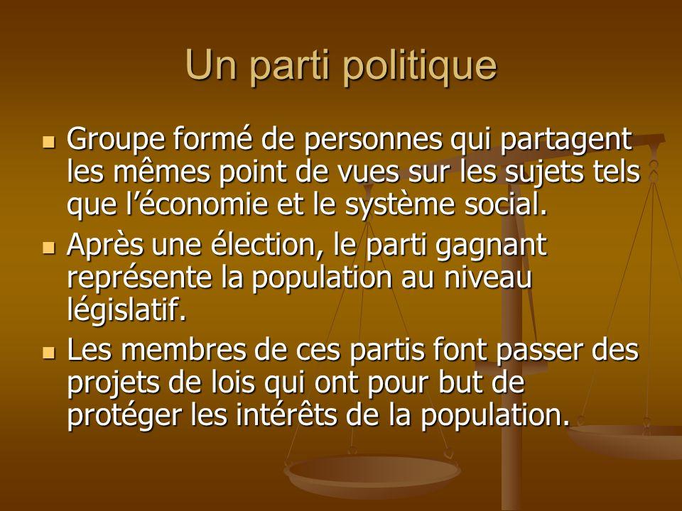 Un parti politique Groupe formé de personnes qui partagent les mêmes point de vues sur les sujets tels que léconomie et le système social.