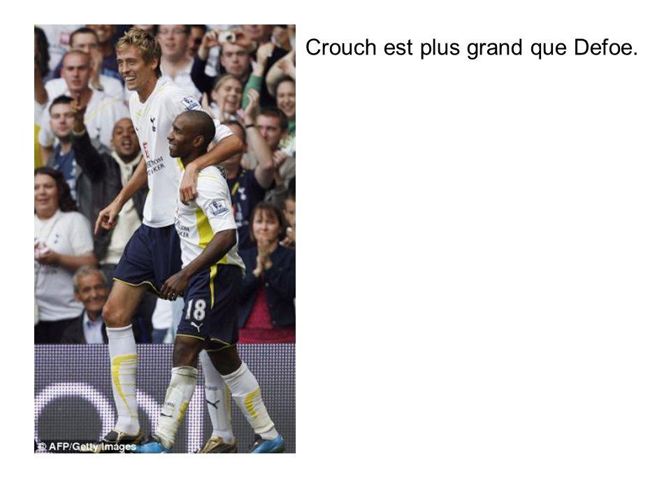Crouch est plus grand que Defoe.