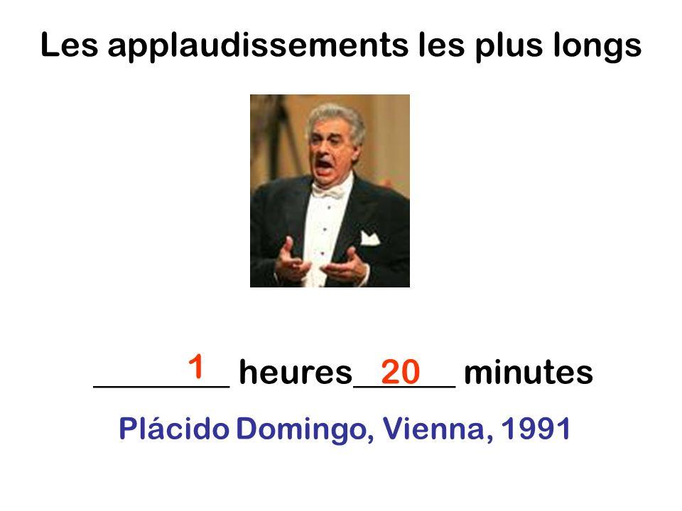 Les applaudissements les plus longs ________ heures______ minutes 1 20 Plácido Domingo, Vienna, 1991