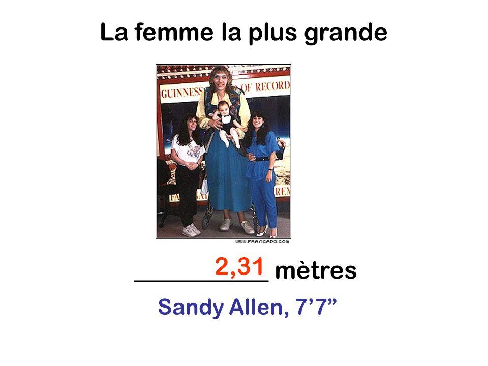 Sandy Allen, 77 2,31 ___________ mètres La femme la plus grande