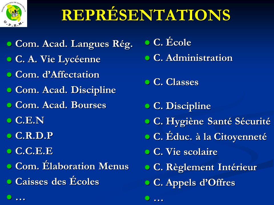 REPRÉSENTATIONS REPRÉSENTATIONS Com.Acad. Langues Rég.