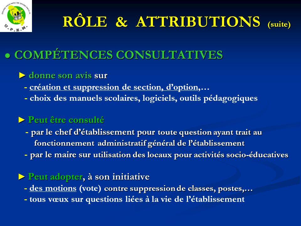 RÔLE & ATTRIBUTIONS (suite) COMPÉTENCES CONSULTATIVES COMPÉTENCES CONSULTATIVES donne son avis sur donne son avis sur - création et suppression de sec