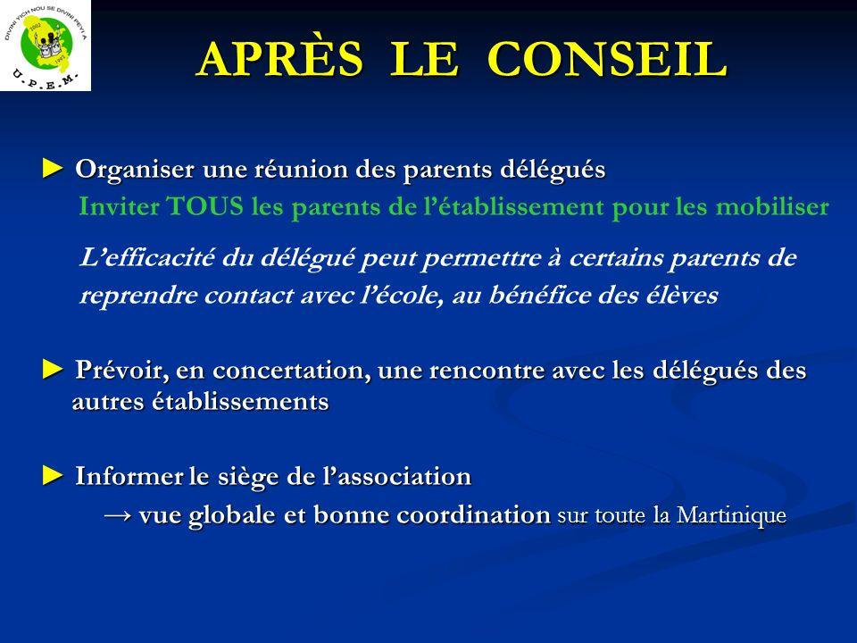 APRÈS LE CONSEIL APRÈS LE CONSEIL Organiser une réunion des parents délégués Organiser une réunion des parents délégués Inviter TOUS les parents de lé