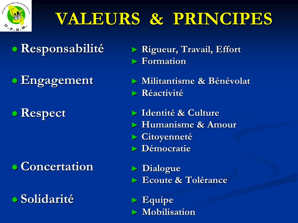 VALEURS & PRINCIPES Responsabilité Responsabilité Engagement Engagement Respect Respect Concertation Concertation Solidarité Solidarité Rigueur, Trava