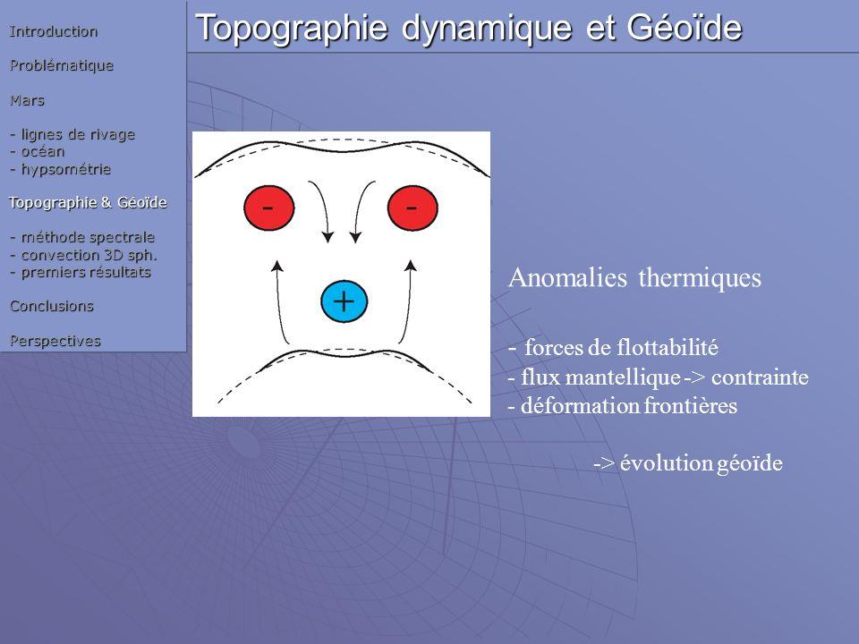 Anomalies thermiques - forces de flottabilité - flux mantellique -> contrainte - déformation frontières -> évolution géoïde Topographie dynamique et G