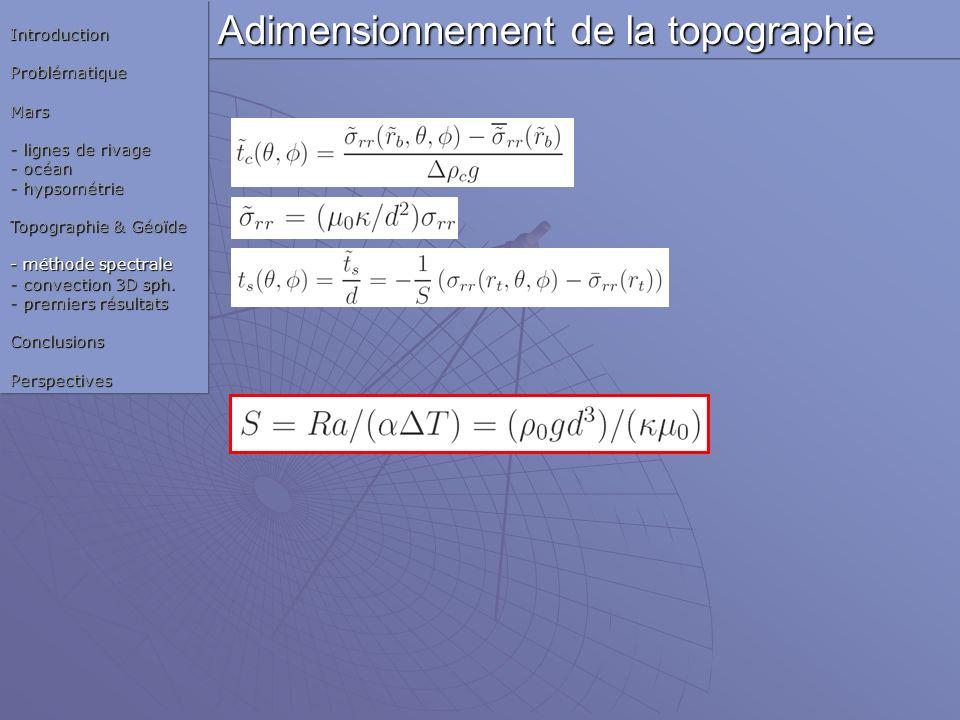 Adimensionnement de la topographie IntroductionProblématiqueMars - lignes de rivage - océan - hypsométrie Topographie & Géoïde - méthode spectrale - c