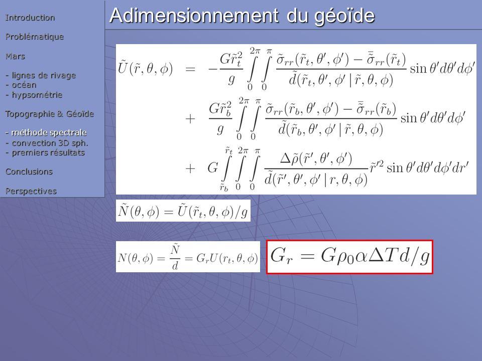 Adimensionnement du géoïde IntroductionProblématiqueMars - lignes de rivage - océan - hypsométrie Topographie & Géoïde - méthode spectrale - convectio
