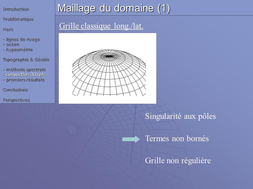 Grille classique long./lat. Singularité aux pôles Termes non bornés Grille non régulière Maillage du domaine (1) IntroductionProblématiqueMars - ligne