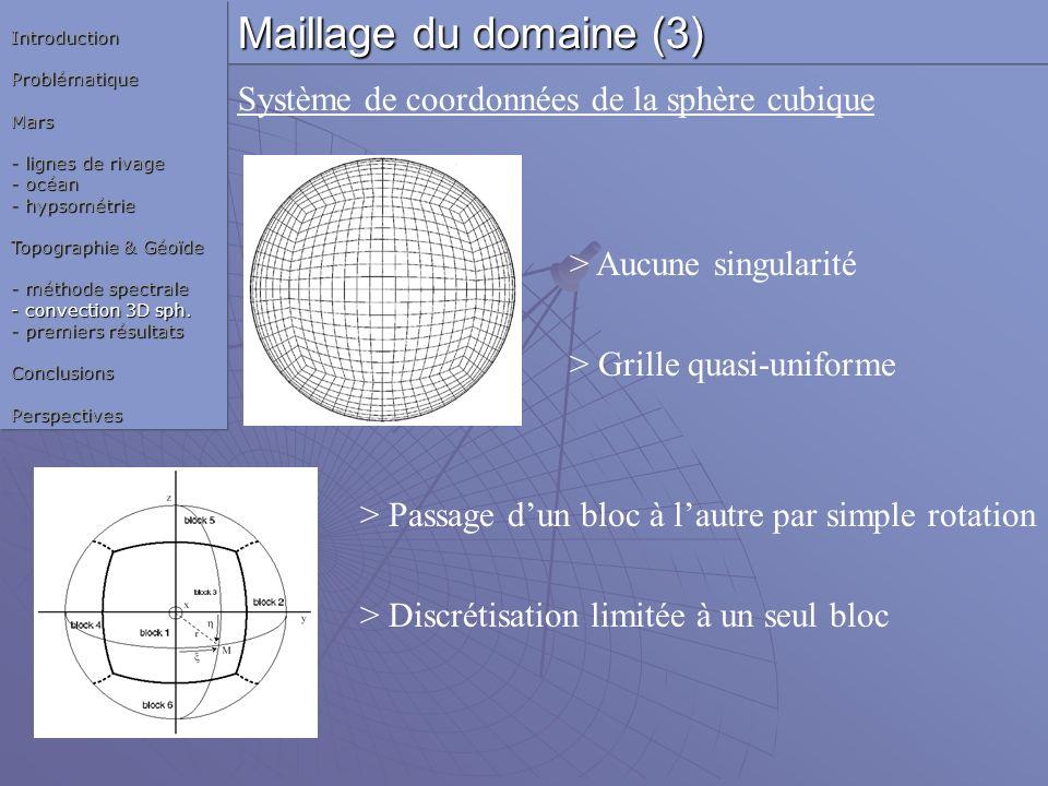> Aucune singularité > Grille quasi-uniforme > Passage dun bloc à lautre par simple rotation > Discrétisation limitée à un seul bloc Système de coordo