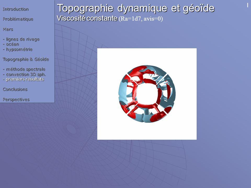 Topographie dynamique et géoïde Viscosité constante Viscosité constante (Ra=1d7, avis=0) Champ de T° IntroductionProblématiqueMars - lignes de rivage
