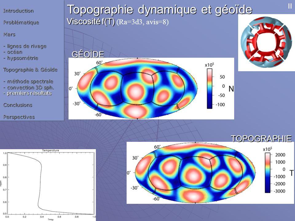 Topographie dynamique et géoïde Viscosité f(T) Viscosité f(T) (Ra=3d3, avis=8) GÉOÏDE TOPOGRAPHIE IntroductionProblématiqueMars - lignes de rivage - o