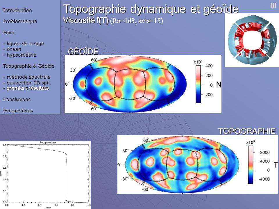 Topographie dynamique et géoïde Viscosité f(T) Viscosité f(T) (Ra=1d3, avis=15)IntroductionProblématiqueMars - lignes de rivage - océan - hypsométrie