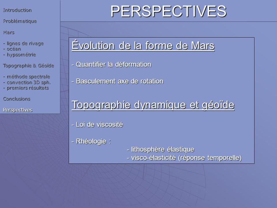 PERSPECTIVES Évolution de la forme de Mars - Quantifier la déformation - Basculement axe de rotation Topographie dynamique et géoïde - Loi de viscosit
