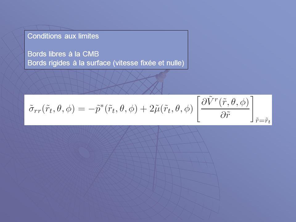 Conditions aux limites Bords libres à la CMB Bords rigides à la surface (vitesse fixée et nulle)