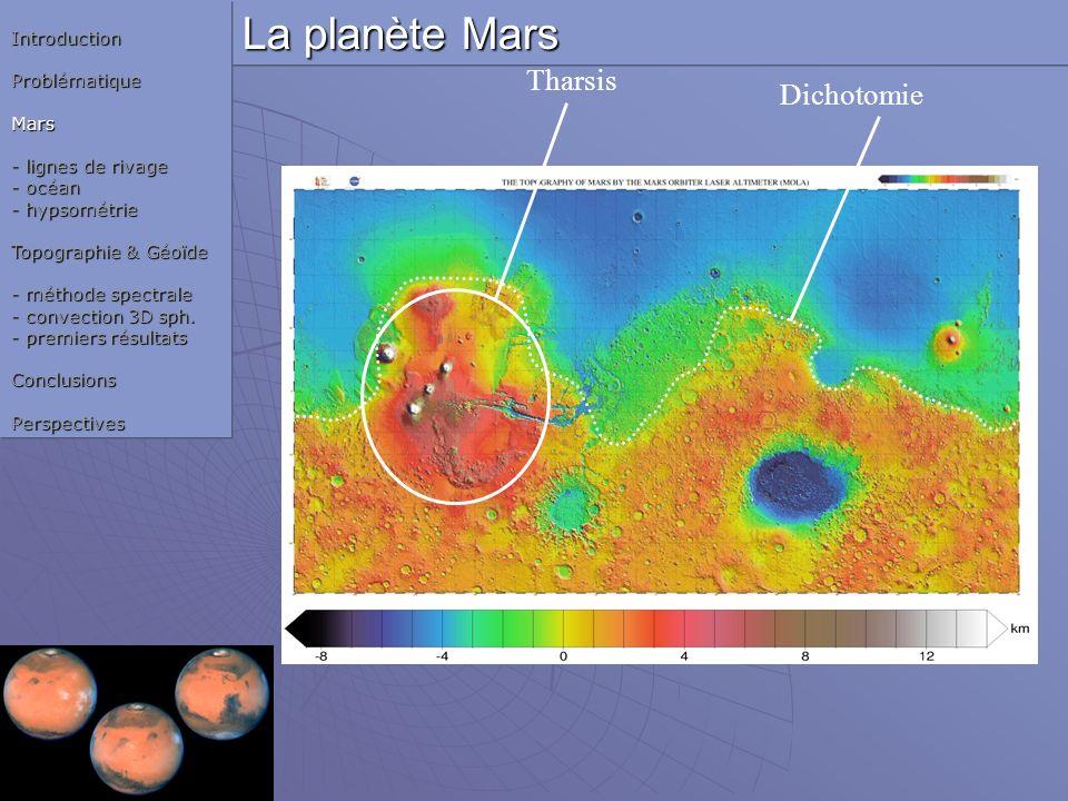 La planète Mars Tharsis DichotomieIntroductionProblématiqueMars - lignes de rivage - océan - hypsométrie Topographie & Géoïde - méthode spectrale - co