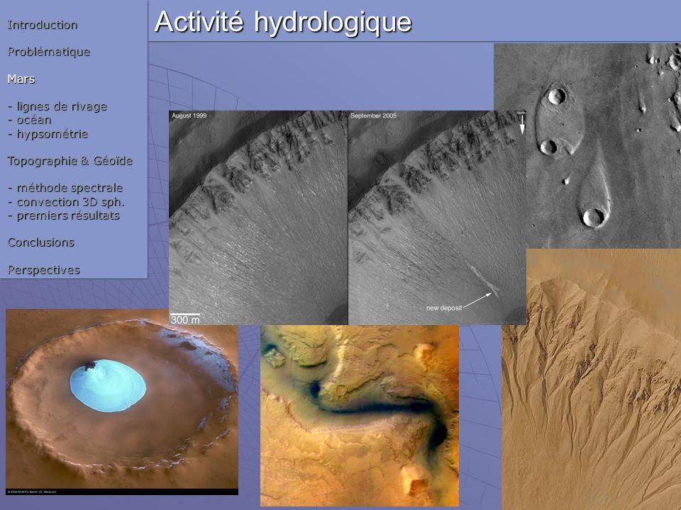 Activité hydrologique IntroductionProblématiqueMars - lignes de rivage - océan - hypsométrie Topographie & Géoïde - méthode spectrale - convection 3D