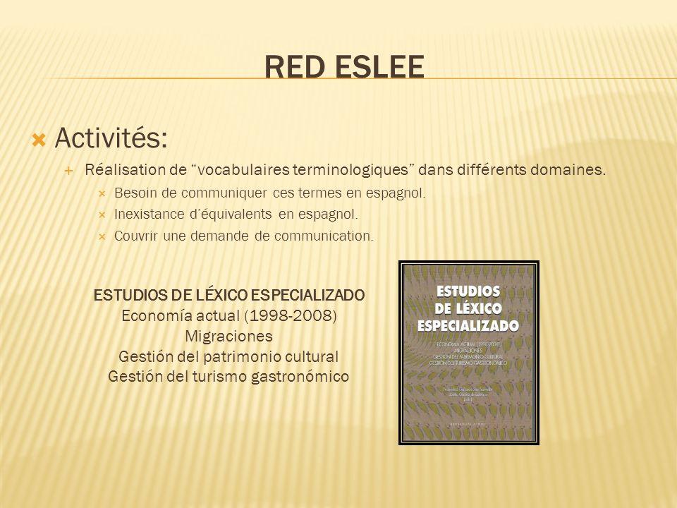 RED ESLEE Activités: Réalisation de vocabulaires terminologiques dans différents domaines. Besoin de communiquer ces termes en espagnol. Inexistance d