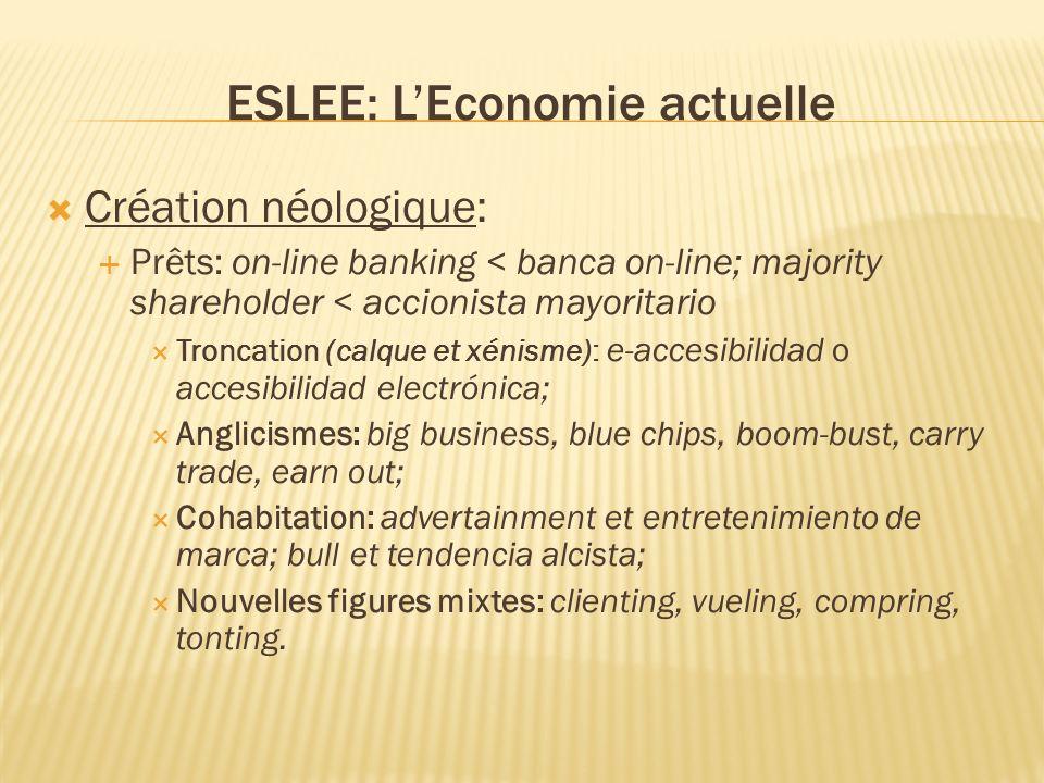 ESLEE: LEconomie actuelle Création néologique: Prêts: on-line banking < banca on-line; majority shareholder < accionista mayoritario Troncation (calqu