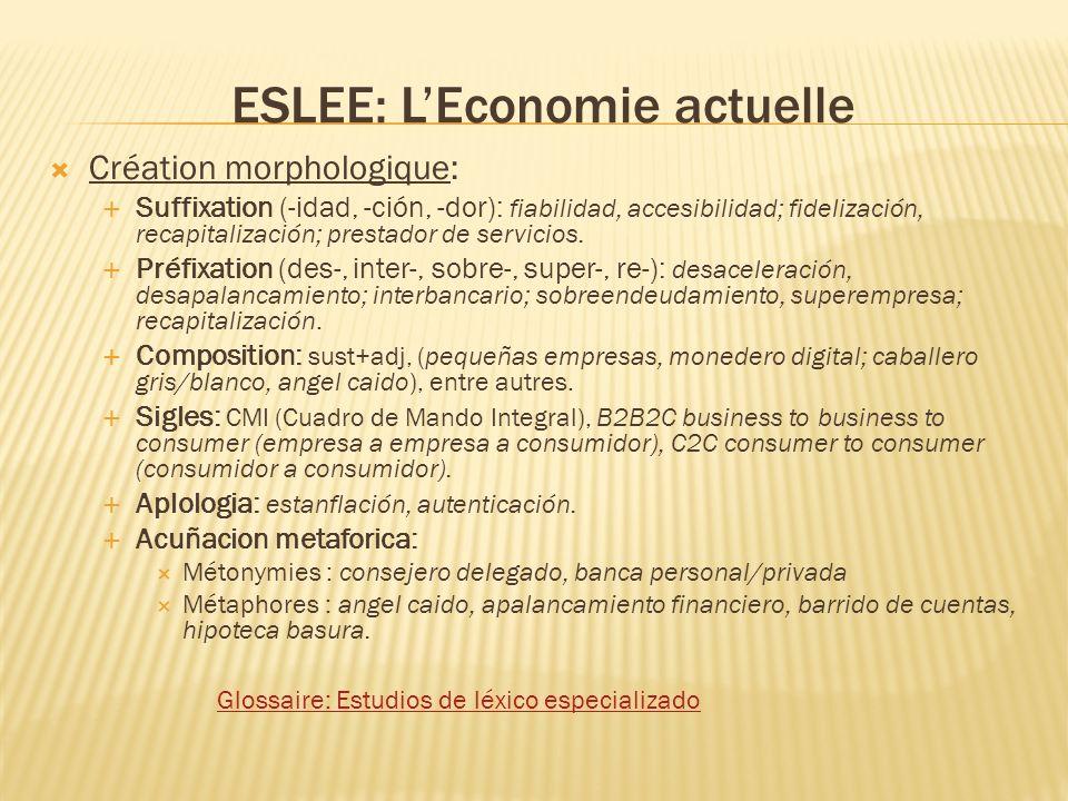 ESLEE: LEconomie actuelle Création morphologique: Suffixation (-idad, -ción, -dor): fiabilidad, accesibilidad; fidelización, recapitalización; prestador de servicios.