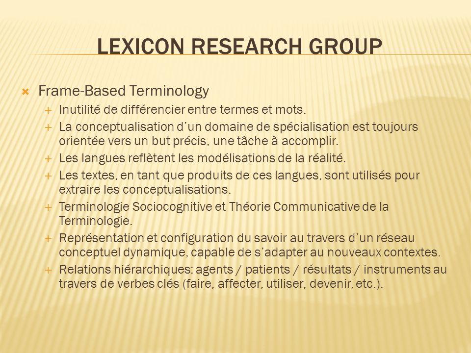LEXICON RESEARCH GROUP Frame-Based Terminology Inutilité de différencier entre termes et mots. La conceptualisation dun domaine de spécialisation est