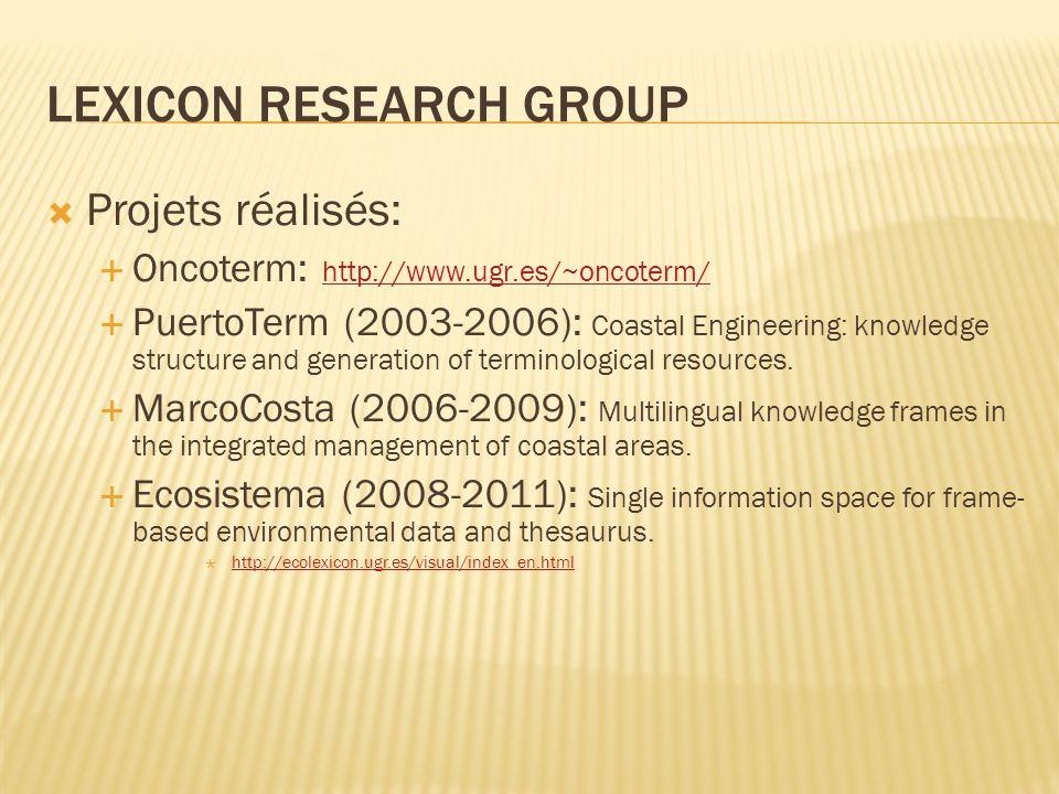 Projets réalisés: Oncoterm: http://www.ugr.es/~oncoterm/ http://www.ugr.es/~oncoterm/ PuertoTerm (2003-2006): Coastal Engineering: knowledge structure