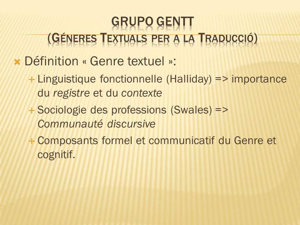 Définition « Genre textuel »: Linguistique fonctionnelle (Halliday) => importance du registre et du contexte Sociologie des professions (Swales) => Communauté discursive Composants formel et communicatif du Genre et cognitif.
