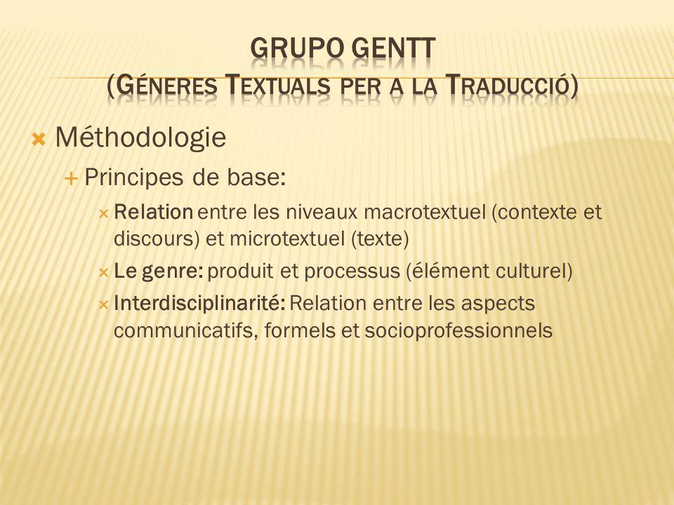 Méthodologie Principes de base: Relation entre les niveaux macrotextuel (contexte et discours) et microtextuel (texte) Le genre: produit et processus