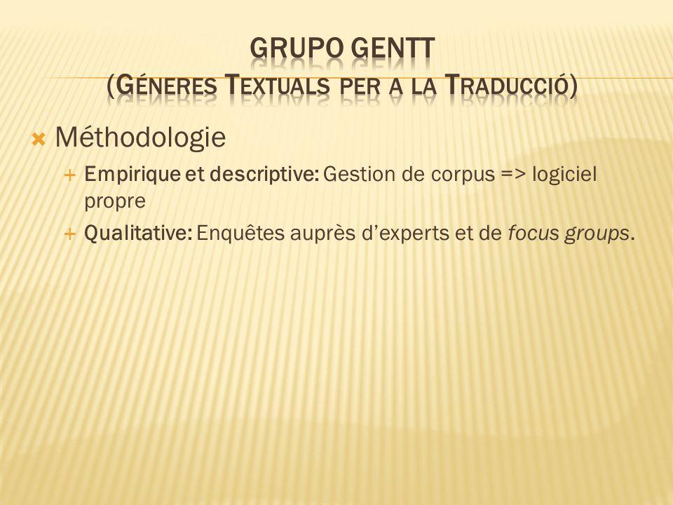 Méthodologie Empirique et descriptive: Gestion de corpus => logiciel propre Qualitative: Enquêtes auprès dexperts et de focus groups.