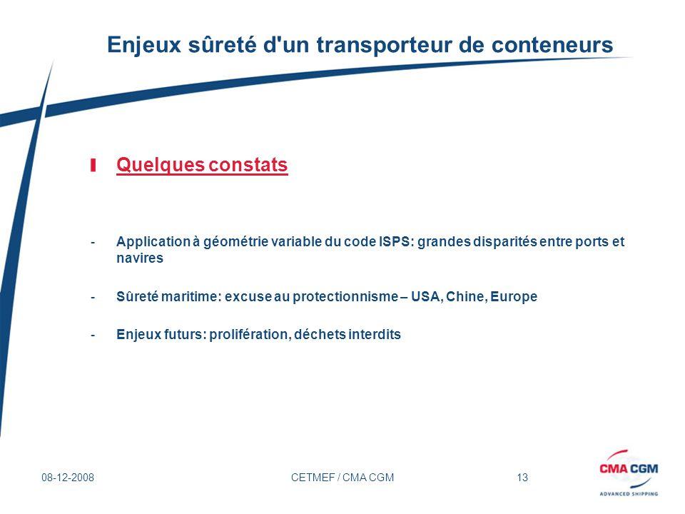 13 08-12-2008CETMEF / CMA CGM Quelques constats -Application à géométrie variable du code ISPS: grandes disparités entre ports et navires -Sûreté mari