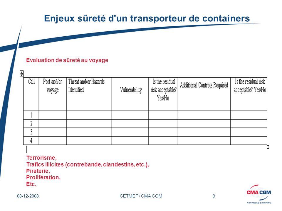 4 08-12-2008CETMEF / CMA CGM Enjeux sûreté d un transporteur de conteneurs Départ dAsie (Qingdao, Ningbo, etc.) Sûreté portuaire, Accès au navire, Prolifération -Sûreté de linstallation portuaire: Application du code ISPS au sein des terminaux.