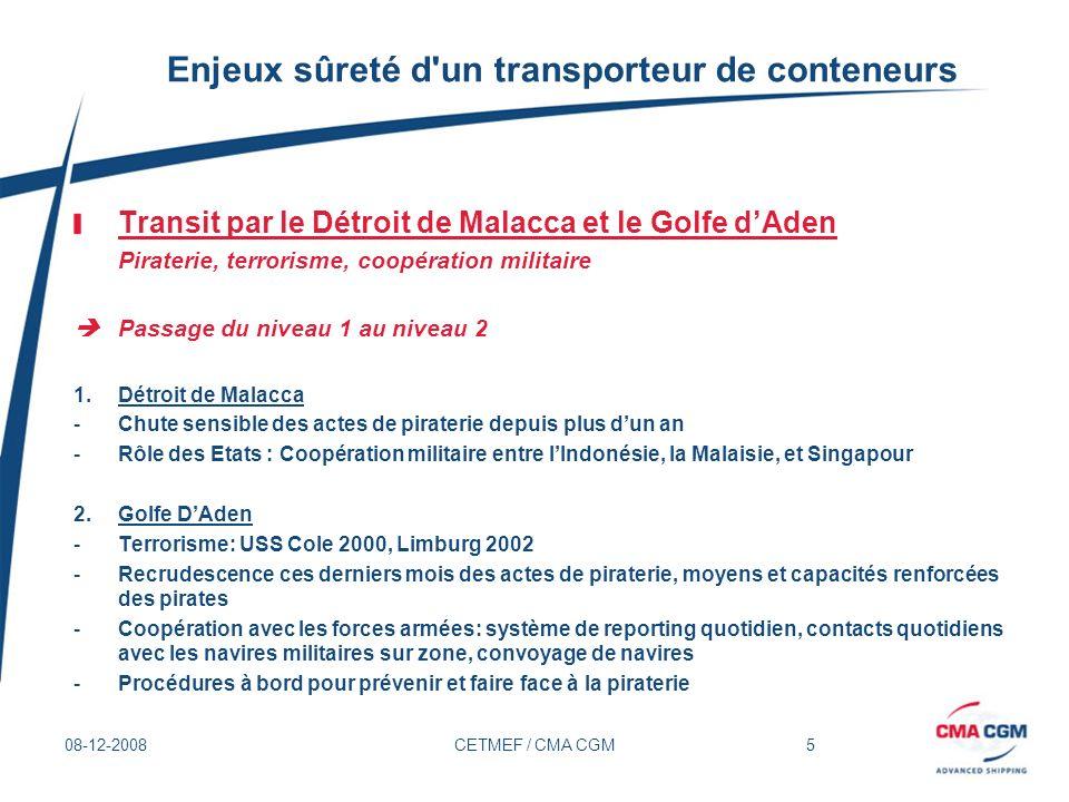 5 08-12-2008CETMEF / CMA CGM Enjeux sûreté d'un transporteur de conteneurs Transit par le Détroit de Malacca et le Golfe dAden Piraterie, terrorisme,