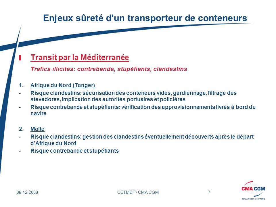 7 08-12-2008CETMEF / CMA CGM Enjeux sûreté d'un transporteur de conteneurs Transit par la Méditerranée Trafics illicites: contrebande, stupéfiants, cl