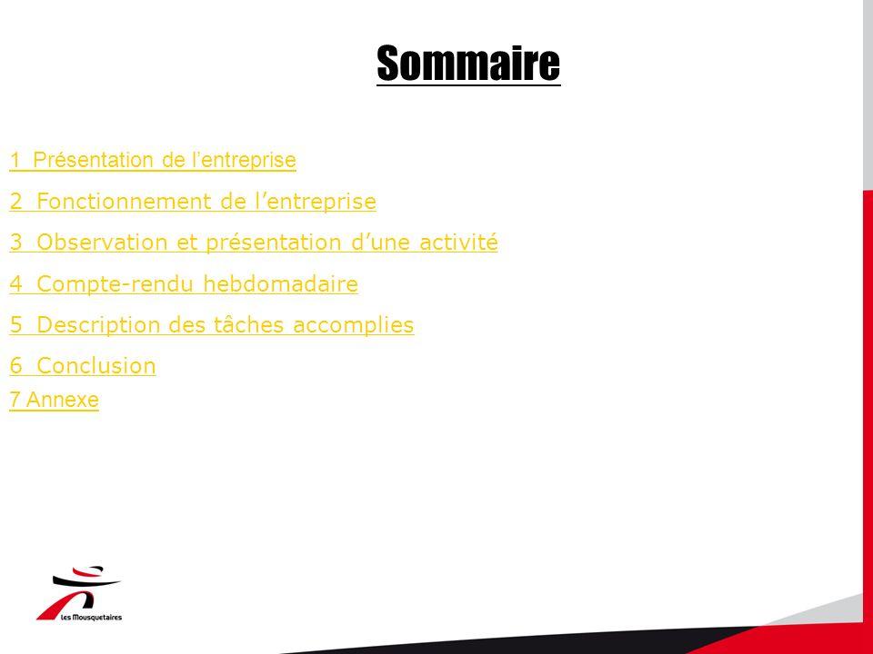 Sommaire 1_Présentation de lentreprise 2_Fonctionnement de lentreprise 3_Observation et présentation dune activité 4_Compte-rendu hebdomadaire 5_Description des tâches accomplies 6_Conclusion 7 Annexe