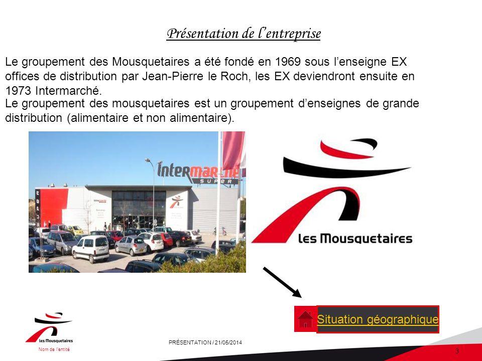 Nom de lentité PRÉSENTATION / 21/05/2014 3 Présentation de lentreprise Le groupement des mousquetaires est un groupement denseignes de grande distribution (alimentaire et non alimentaire).