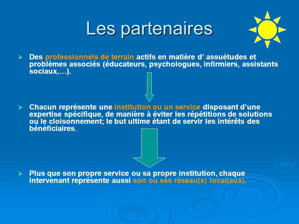 Les partenaires Des professionnels de terrain actifs en matière d assuétudes et problèmes associés (éducateurs, psychologues, infirmiers, assistants s