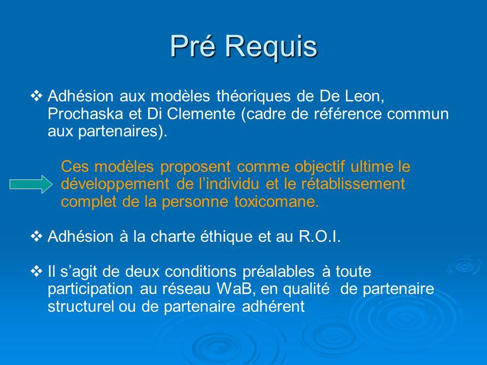 Pré Requis Adhésion aux modèles théoriques de De Leon, Prochaska et Di Clemente (cadre de référence commun aux partenaires). Ces modèles proposent com